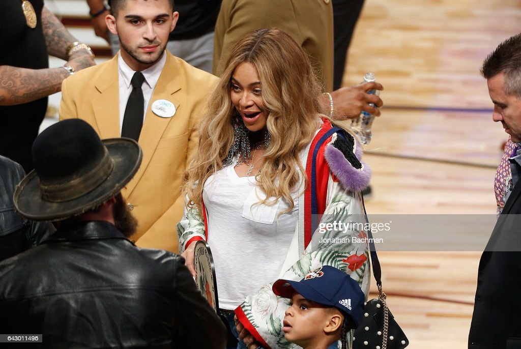 Beyonce reacts after the 2017 NBA All-Star Game at Smoothie King Center on February 19, 2017 in New Orleans, Louisiana.