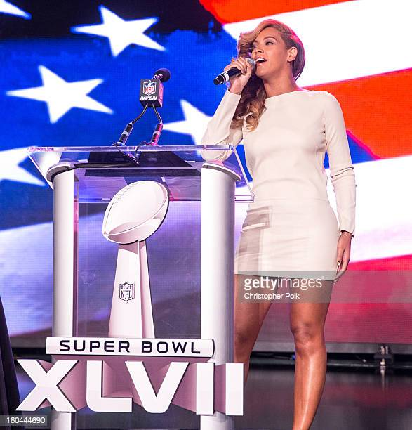 Beyonce speaks onstage at the Pepsi Super Bowl XLVII Halftime Show Press Conference at the Ernest N Morial Convention Center on January 31 2013 in...