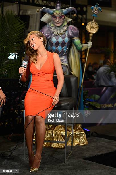 Beyonce visits Radio Row at the Ernest N Morial Convention Center on January 31 2013 in New Orleans Louisiana