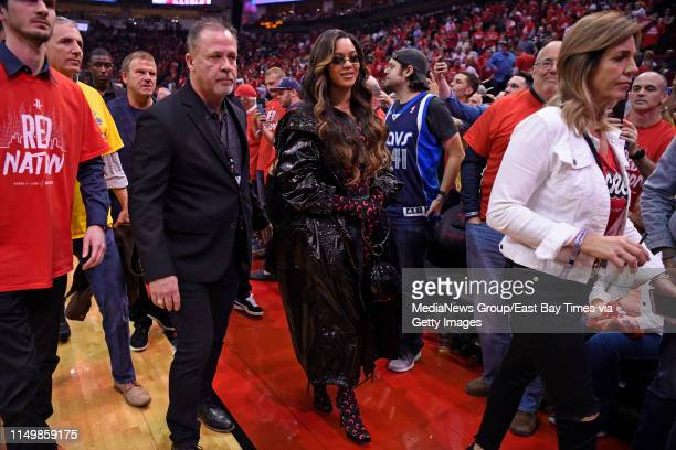Beyonce walks off the court after the first half of Game 6 of their NBA second round playoff series at the Toyota Center in Houston, Texas on Friday,...
