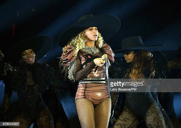 Beyonce wearing a custom Gucci Panther bodysuit performs onstage during 'The Formation World Tour' at NRG Stadium on May 7, 2016 in Houston, Texas.