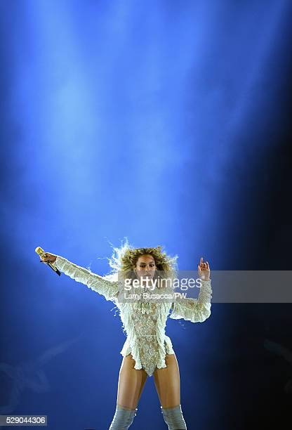 Beyonce wearing a custom lace bodysuit by Balmain performs onstage during 'The Formation World Tour' at NRG Stadium on May 7 2016 in Houston Texas