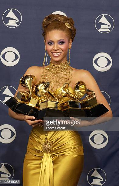Beyonce winner of 5 Grammy Awards during The 46th Annual GRAMMY Awards Press Room at Staples Center in Los Angeles California United States