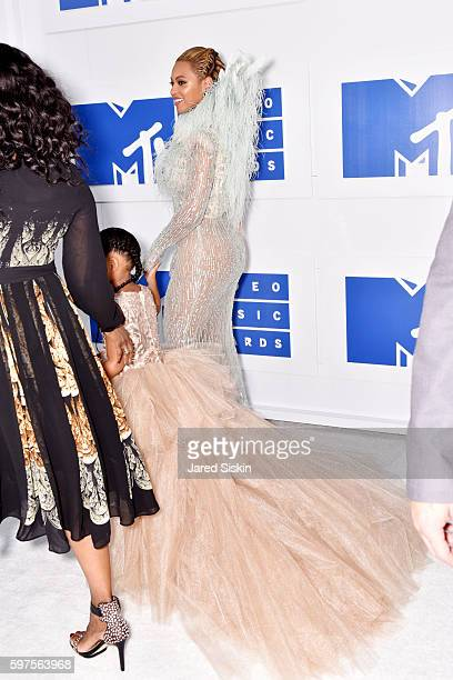 Beyonce with daughter Blue Ivy Carter attend the 2016 MTV Video Music Awards Arrivals at Madison Square Garden on August 28 2016 in New York City