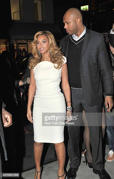 "Beyonce with her personal bodyguard at the Lorraine Schwartz ""2BHAPPY"" Launch Event held at Lavo"