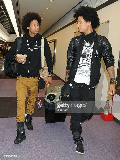 Beyonce's show dancers Larry Bourgeois and Laurent Bourgeois of Les Twins are seen upon airport arrival on September 2 2013 in Tokyo Japan