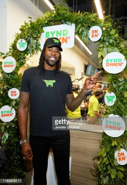 Beyond Ambassador and Brooklyn Nets basketball player DeAndre Jordan attends Dunkin' and Beyond Meat unveil Beyond Sausage Breakfast Sandwich at an...