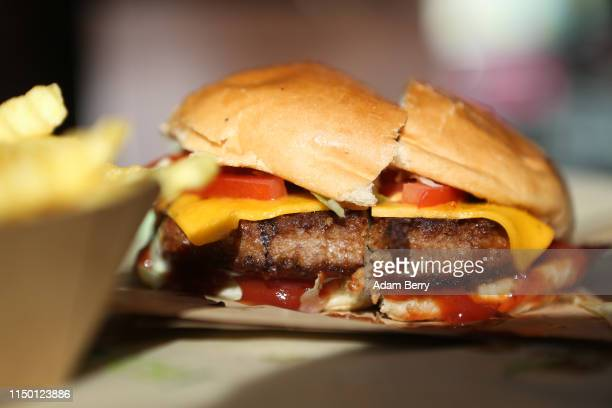 Beyond Burger, a vegan veggie burger, is seen at the Vedang fast food restaurant in the Mall of Berlin on May 18, 2019 in Berlin, Germany. With fast...