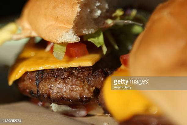 Beyond Burger a vegan veggie burger is seen at the Vedang fast food restaurant in the Mall of Berlin on May 18 2019 in Berlin Germany With fast food...