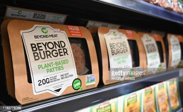 "Beyond Meat ""Beyond Burger"" patties made from plant-based substitutes for meat products sit on a shelf for sale on November 15, 2019 in New York..."