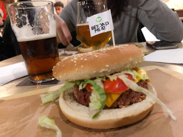 Beyond Meat hamburger is seen in a pub in Milan, Italy, on January 04 2020. Beyond Meat is a Los Angeles-based producer of plant-based meat...