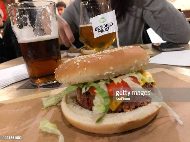Beyond Meat hamburger is seen in a pub in Milan Italy on January 04 2020 Beyond Meat is a Los Angelesbased producer of plantbased meat substitutes...