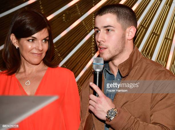Beyond Type 1 Co-Founders Nick Jonas and Sarah Lucas speak onstage at the Beyond LA Cocktail Party Benefiting Beyond Type 1 at The Avenue on May 5,...