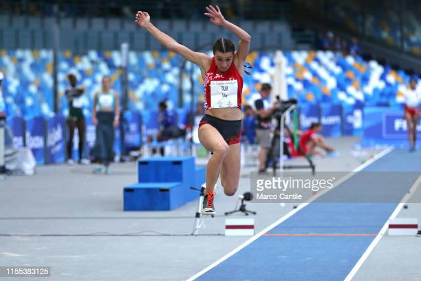 Beyza Tilki, of Turkey, during the final stages of athletics, for the 2019 Universiade, in the specialty of Triple Jump, at San Paolo stadium in...