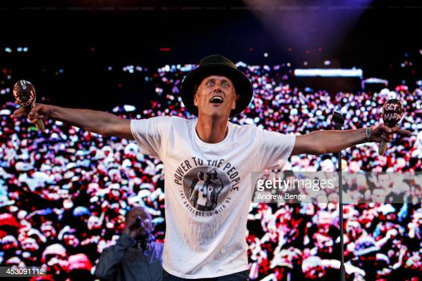 Bez of Happy Mondays performs on stage at Kendal Calling Festival at Lowther Deer Park on August 2, 2014 in Kendal, United Kingdom.
