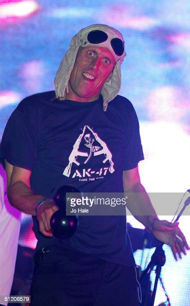 Bez of the Happy Monday's performs on stage as part of the outdoor festival 'Get Loaded In The Park' at Clapham Common on August 22 2004 in London