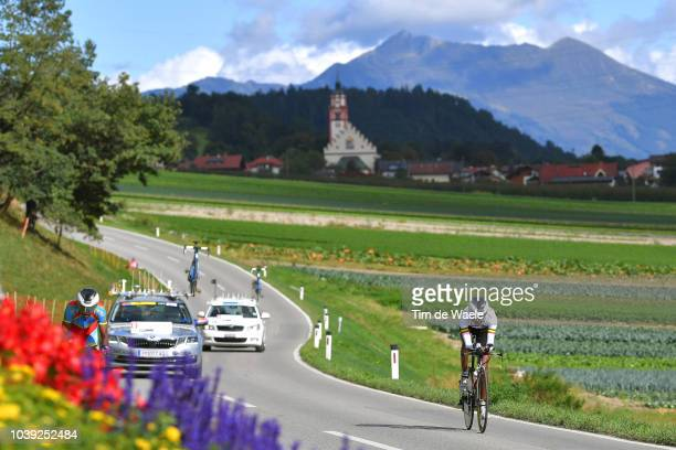 Beza Ejgu Million of Ethiopia / Landscape / Mountains / Church / during the Individual Time Trial Men Under 23 a 278km race from Wattens to Innsbruck...