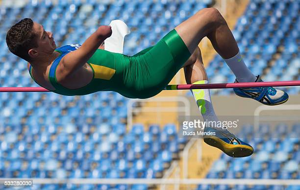 Bezerra dos Santos competes the Men's High Jump T44 Final during the Paralympics Athletics Grand Prix Aquece Rio Test Event for the Rio 2016 Olympics...