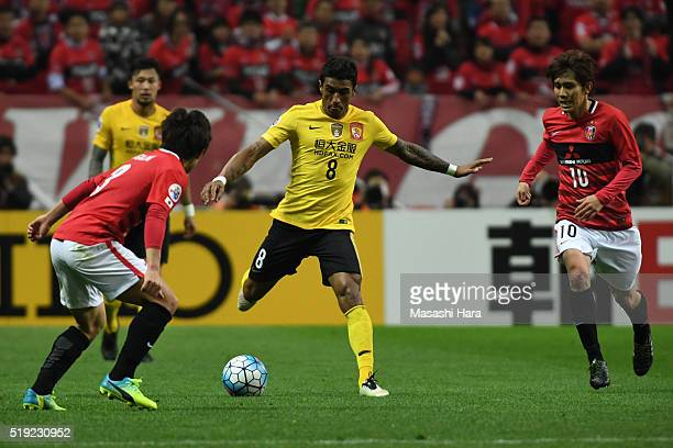 Bezerra Maciel Junior of Guangzhou Evergrande in action during the AFC Champions League Group H match between Urawa Red Diamonds and Guangzhou...