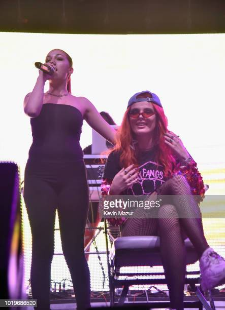 Bhad Bhabie and Bella Thorne perform onstage during Day 2 of Billboard Hot 100 Festival 2018 at Northwell Health at Jones Beach Theater on August 19...