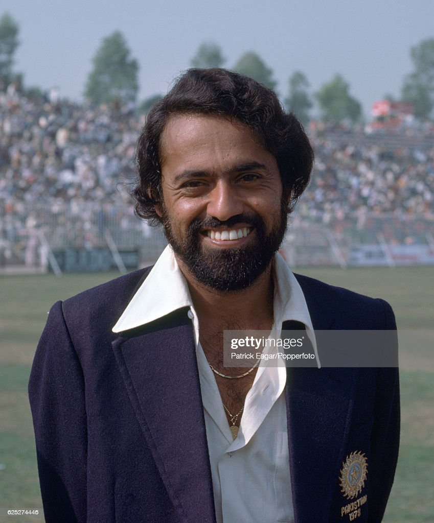 Bhagwat Chandrasekhar of India during the 2nd Test match between Pakistan and India at the Gaddafi Stadium Lahore Pakistan 27th October 1978