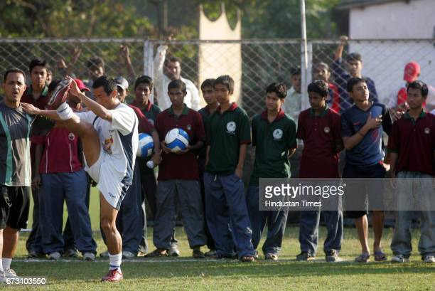 Bhaichung Bhutia during practice at Cooperage on Saturday