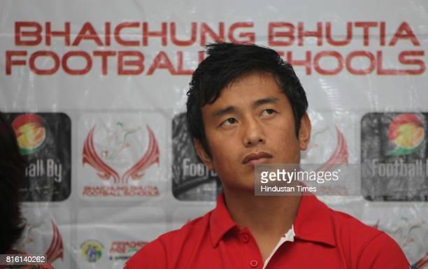 Bhaichung Bhutia during the launch of Bhaichung Bhutia football school at Press club in Mumbai on Monday