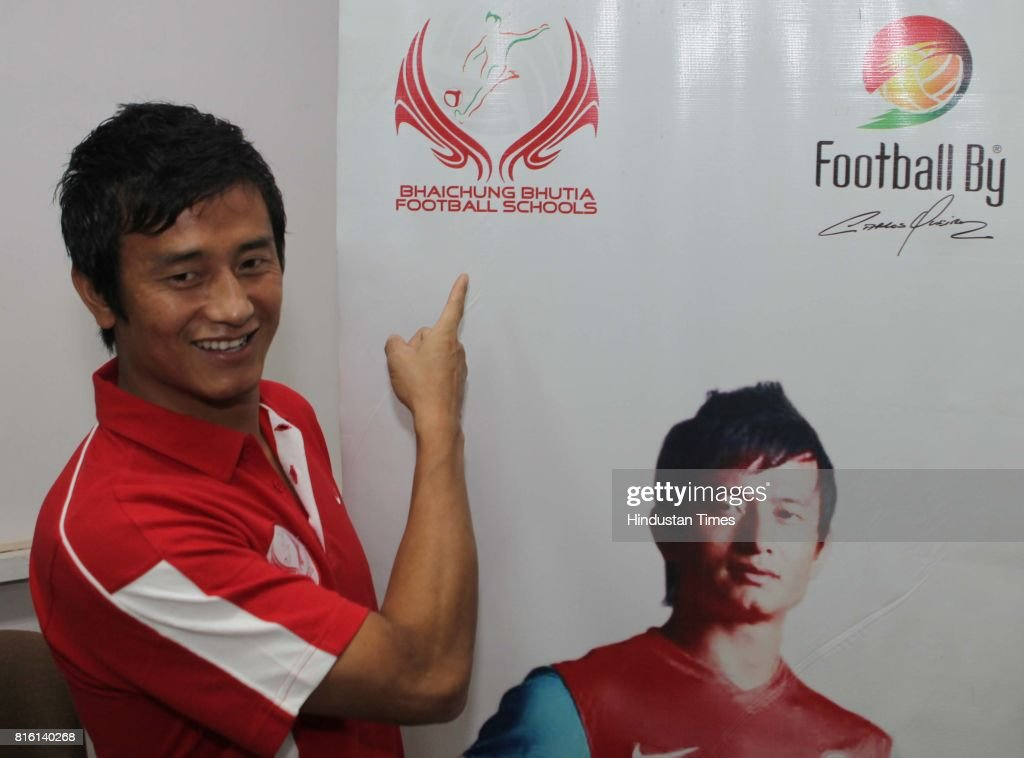 Bhaichung Bhutia during the launch of Bhaichung Bhutia football school at Press club in Mumbai on Monday.
