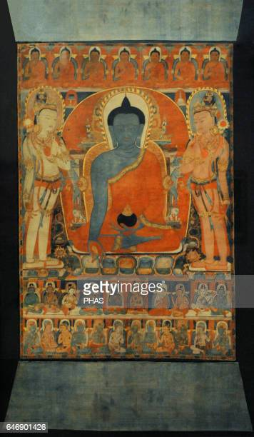 Bhaisajyaguru the Medicine Buddha Tangut State of the Western Xia KharaKhoto Late 12th13th century Tangka colours on cottonThe State Hermitage Museum...