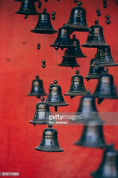 bhaktapur bells - guwahati stock pictures, royalty-free photos & images
