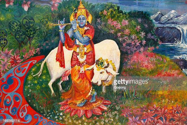 Bhaktivedanta Manor Painting depicting Krishna and a cow