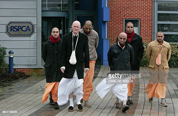 Bhaktivedanta Manor temple President Gauri Das and Hare Krishna followers leave the Royal Society for Prevention of Cruelty to Animals headquaters in...