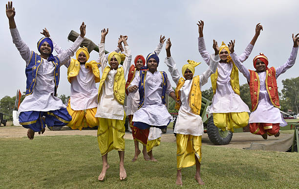 Bhangra Bogs before the exhibition 'Know Your Army' being organized by India Army at Panther Stadium on August 10 2016 in Amritsar India The...