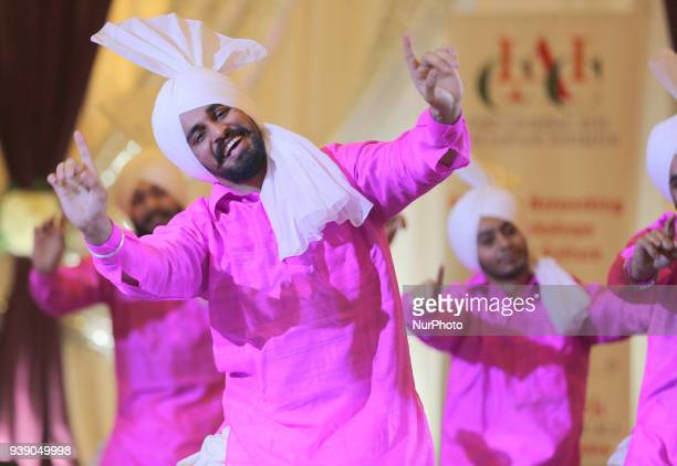 Bhangra dancers perform during a cultural program in Mississauga Ontario Canada