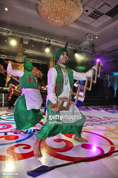 Bhangra dancers perform during the William Osler Health Foundation's Holi Gala Event held on April 7 2018 in Mississauga Ontario Canada The Holi Gala...
