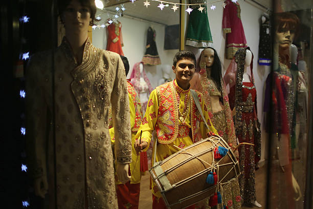 A bhangra drummer on the Golden Mile entertains the crowds as they celebrate the Hindu festival of Diwali on October 23 2014 in Leicester England Up..