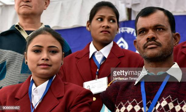 Bharat Award winner Nazia from Uttar Pradesh Laxmi Yadav from Raipur and Geeta Chopra Award winner father of Netravati MChavan from Karnataka at...
