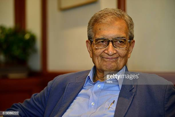 Bharat Ratna and Nobel Memorial Prize in Economic Sciences awarded Economist Amartya Sen poses for a profile shoot on July 7, 2015 in New Delhi,...