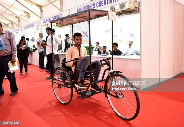 Bharat Sahu from Durg Chhattisgarh shows Leg operated tricycle for hand handicapped during the Innovation and Entrepreneurship at President Estate on...