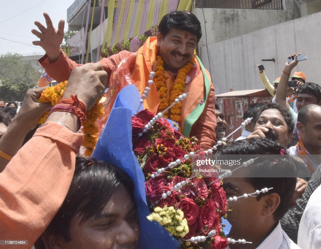 IND: Delhi BJP President Manoj Tiwari Holds A Road Show; Files Nomination Papers
