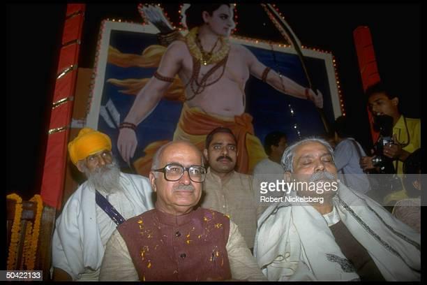 Bharatiya Janata Party ldr. L.K. Advani during Hindu nationalist BJP rally.