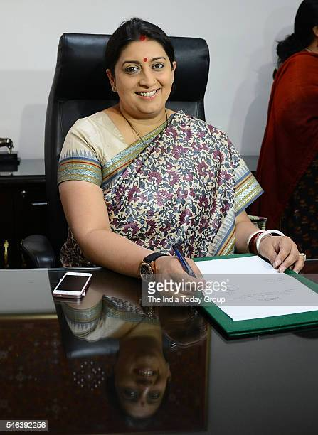 Bharatiya Janata Party legislator Smriti Irani at her office after taking charge of the Textiles Ministry in New Delhi