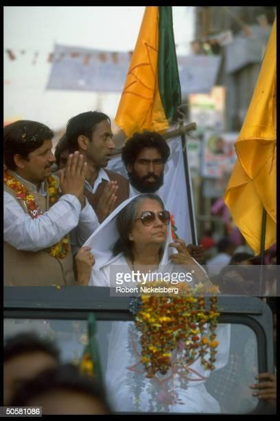 Bharatiya Janata Party member of Parliament Maharani of Gwalior Vijayaraje Scindia campaigning for BJP assembly cands Gwalior Madhya Pradesh State...