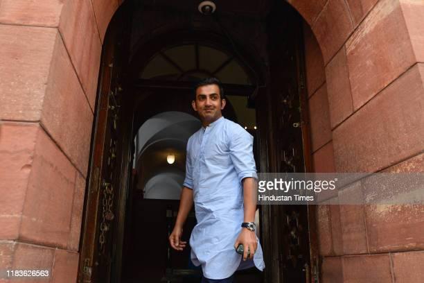 Bharatiya Janata Party MP Gautam Gambhir arrives during the winter session of Parliament on November 20 2019 in New Delhi India The Rajya Sabha...
