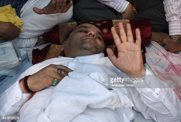 Bharatiya Janata Party MP Mahiesh Girri during his indefinite fast outside the residence of Delhi Chief Minister Arvind Kejriwal on June 20, 2016 in...