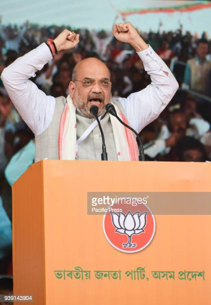Bharatiya Janata Party National President Amit Shah addresses a conclave of the party booth presidents in the view for the upcoming Panchayat polls