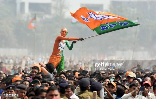 Bharatiya Janata Party supporters seen during Sankalp Rally at Gandhi Maidan on March 3 2019 in Patna India Modi while sounding the poll bugle for...