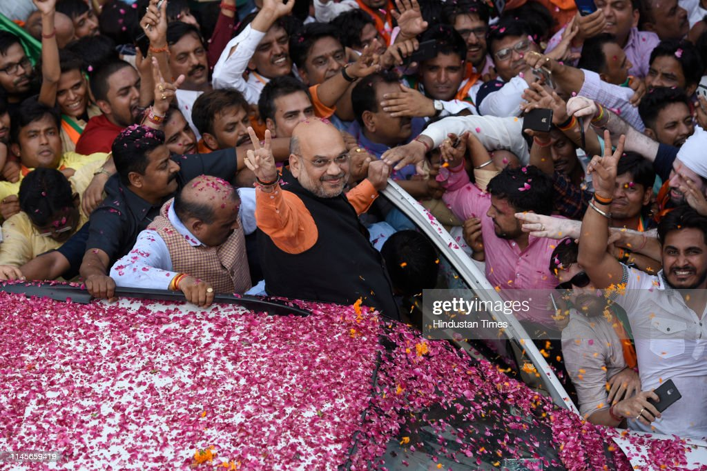 IND: BJP President Amit Shah Arrives At Party Headquarter After Trends Show Massive Victory For NDA Coalition