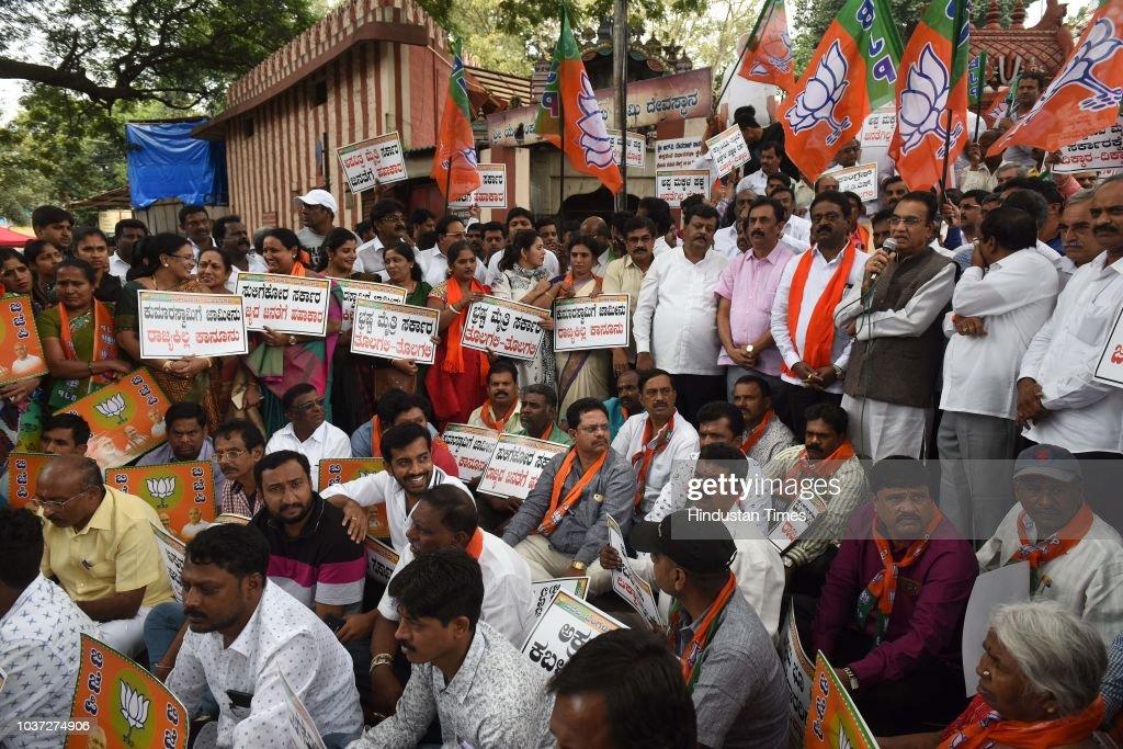 Bengaluru: BJP Stage A Demonstration Against Karnataka Chief Minister H D Kumaraswamy