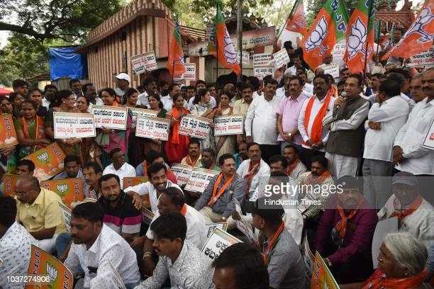 Bharatiya Janta Party stage a demonstration against the chief minister of Karnataka H D Kumaraswamy at Mysore Bank Circle on September 21 2018 in...